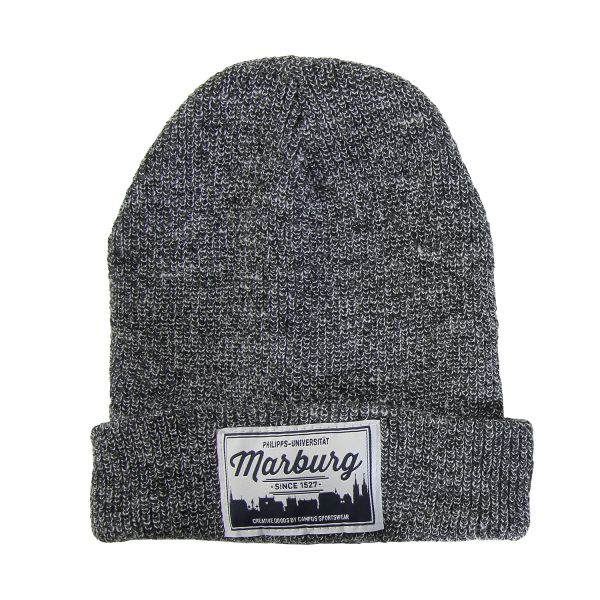 Beanie, dark heather grey, label
