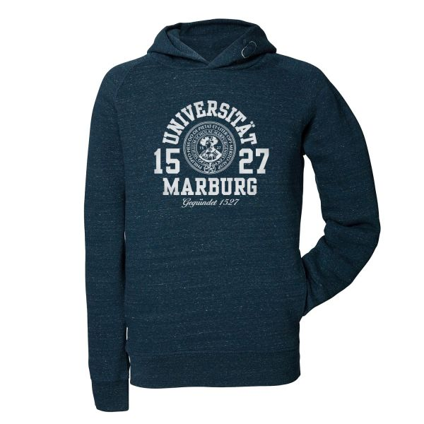 Herren Organic Hooded Sweatshirt, dark heather denim, marshall