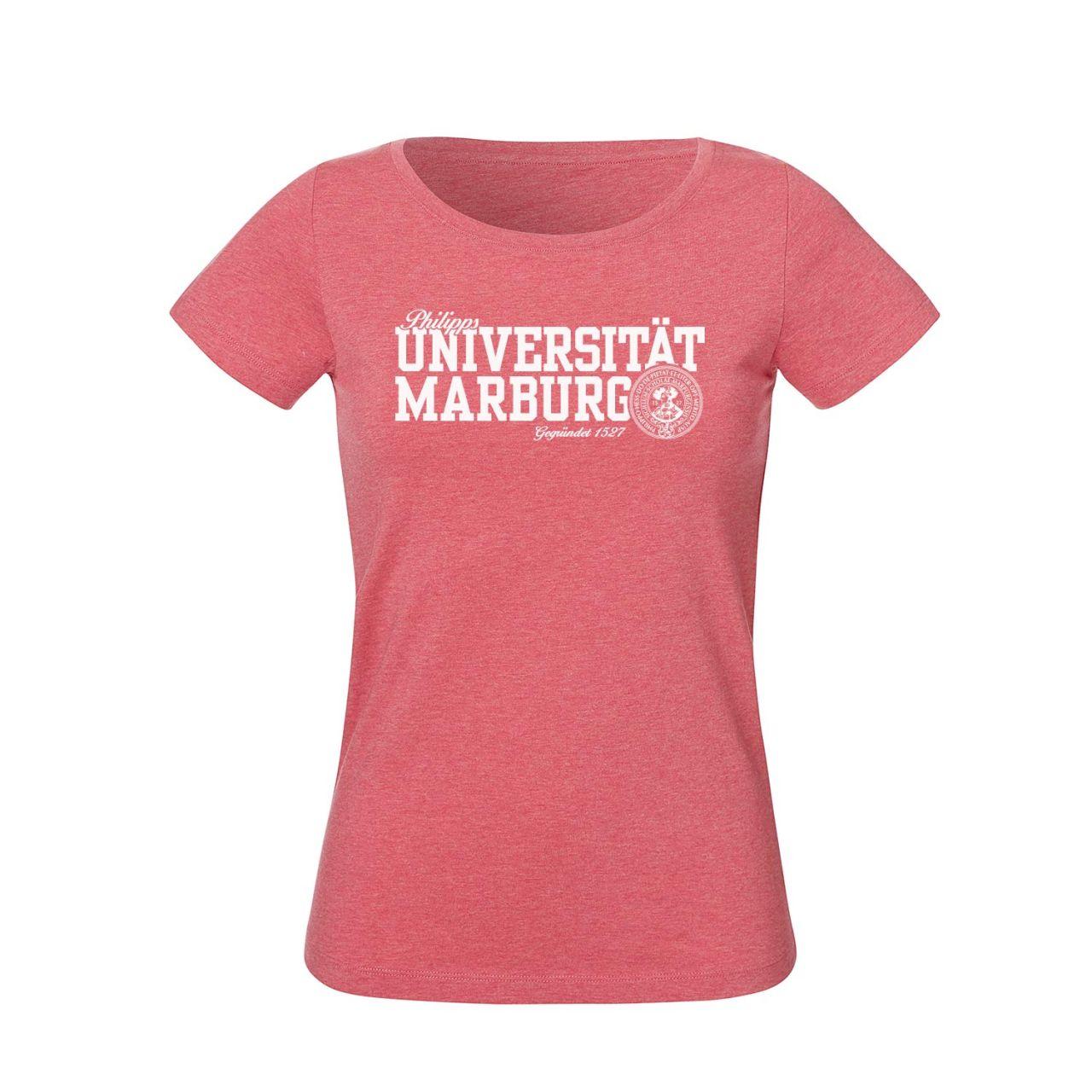 Damen Organic T-Shirt, heather cranberry, navy
