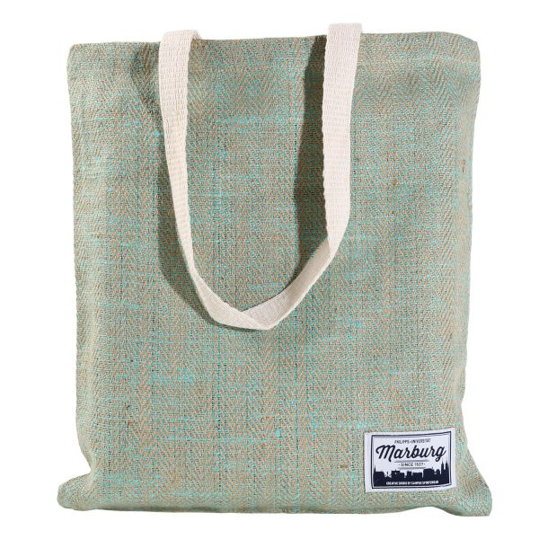 Jute Bag, natural/green, label