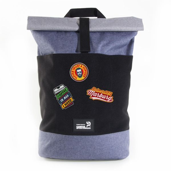Roll Up Style Bag, heather grey / blue, Patch It