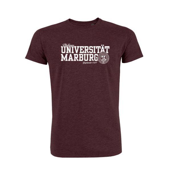 Unisex Organic T-Shirt, heather grape red, navy