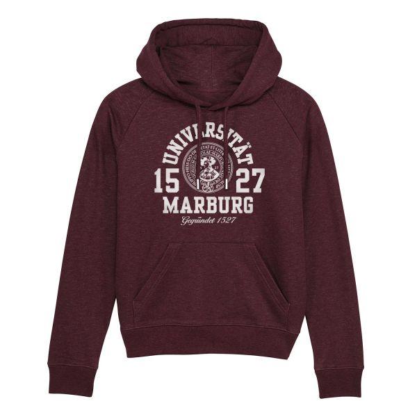 Damen Organic Hooded Sweatshirt, heather grape red, marshall