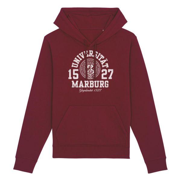 Herren Organic Hooded Sweatshirt, burgundy, marshall