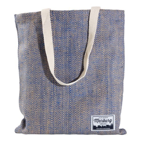 Jute Bag, natural/blue, label
