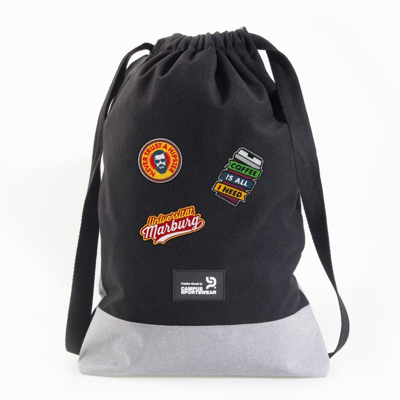 Gym Bag, black / heather grey, Patch It