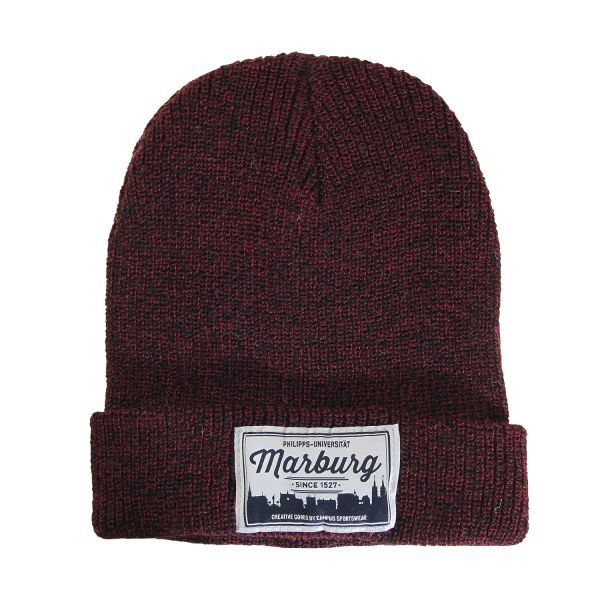 Beanie, dark heather burgundy, label