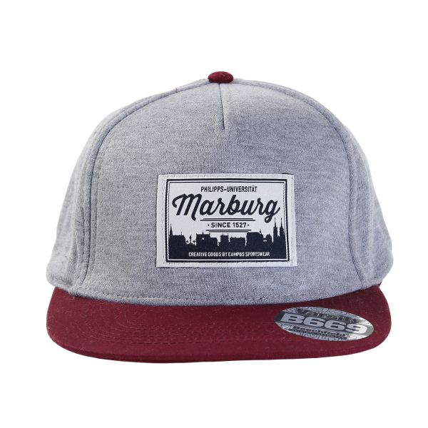 Jersey Cap, grey/burgundy, label