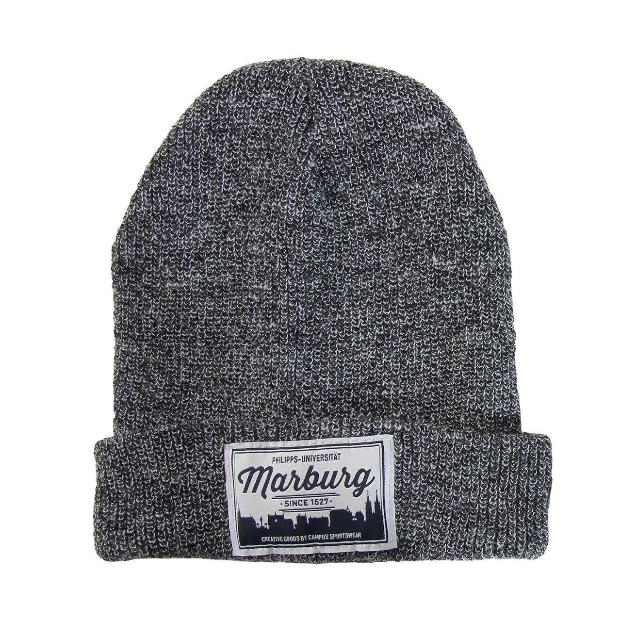 Beanie, dark heather grey, label