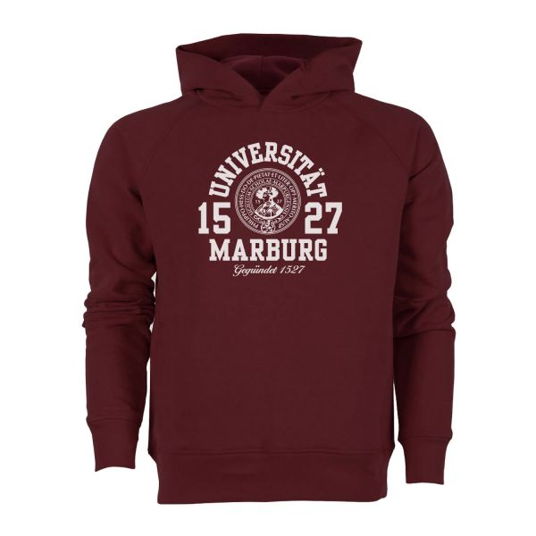 Herren Organic Hooded Sweatshirt, burgundy, marshall