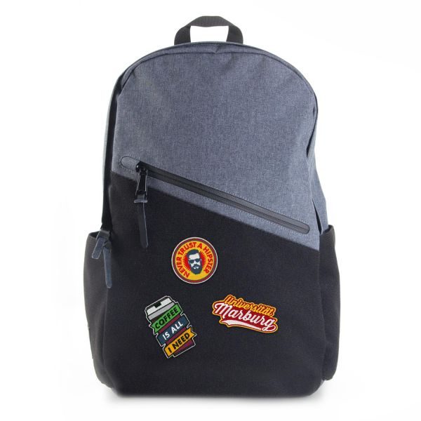 Backpack, black / heather blue, Patch It