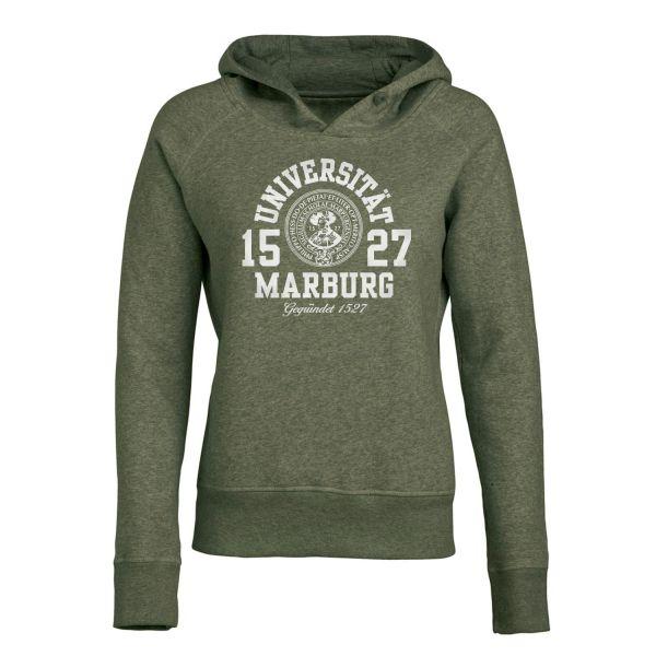 Damen Organic Hooded Sweatshirt, heather khaki, marshall